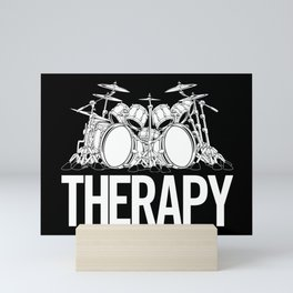 Drummers Therapy Drum Set Cartoon Illustration Mini Art Print