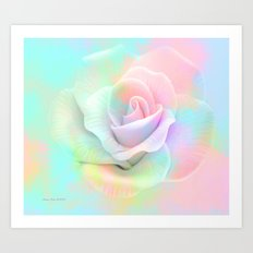 Soft Colorful Rose By Annie Zeno  Art Print