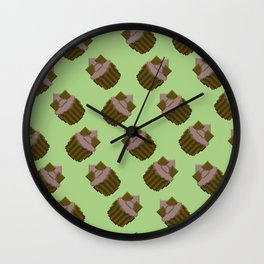 Milk Chocolate Pixel Cupcake Pattern Wall Clock