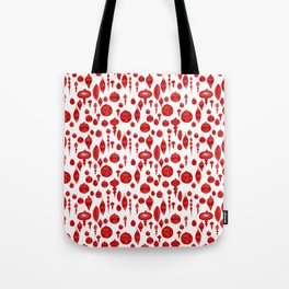 Vintage Christmas Ornaments in Red on White Tote Bag