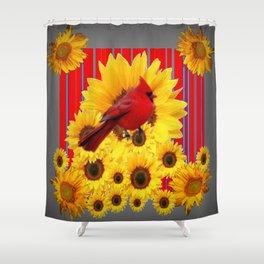 YELLOW SUNFLOWERS RED CARDINAL GREY  ART Shower Curtain