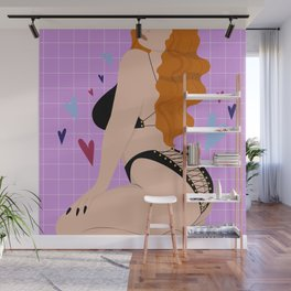 Laced Up III // Woman, Lingerie, Pin Up, Ginger, Black, Valentine Wall Mural