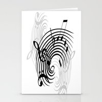 music notes Stationery Cards featuring Music Notes by Svetlana Sewell