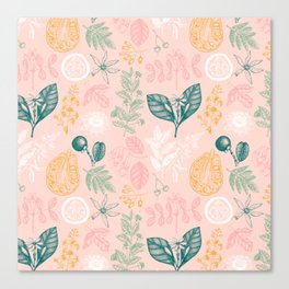 Modern Pink Green Yellow Hand Painted Exotic Floral Canvas Print