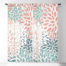 Festive, Floral Prints, Teal Green, Peach, Coral, Colour Prints Blackout Curtain