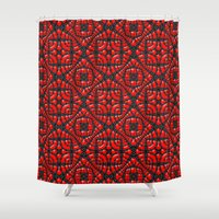 gothic Shower Curtains featuring Gothic Red by Peter Gross