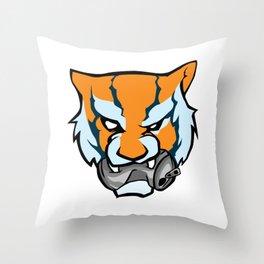 Tiger Head Bitting Beer Can Orange Throw Pillow