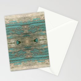 Weathered Rustic Wood - Weathered Wooden Plank - Beautiful knotty wood weathered turquoise paint Stationery Cards