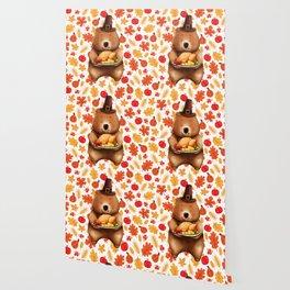 pilgram bear with festive background Wallpaper