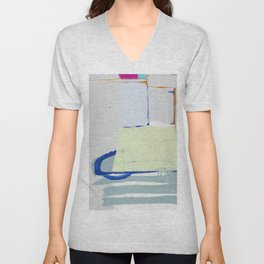 Rockpile I - abstract painting in navy, mint, cream, white, and pink Unisex V-Neck