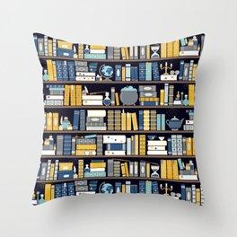 Book Case Pattern - Blue Yellow Throw Pillow