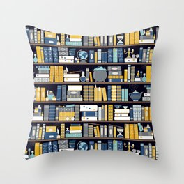Book Case Pattern - Blue Yellow Throw Pillow