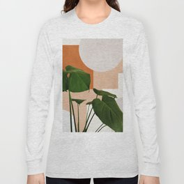 Mid century abstract tropical monstera leaf Long Sleeve T-shirt