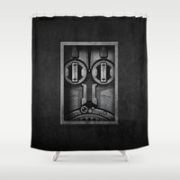 industrial Shower Curtains featuring D1 Industrial by HOMER LIWAG