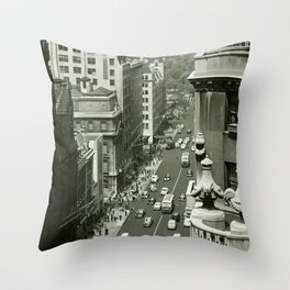 Fifth Avenue, New York City, B&W, high angle view 1950s vintage photo Throw Pillow