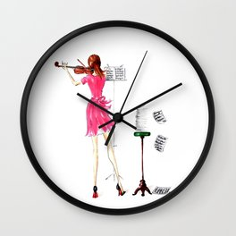 The Violin Player - Fashion Illustration Wall Clock