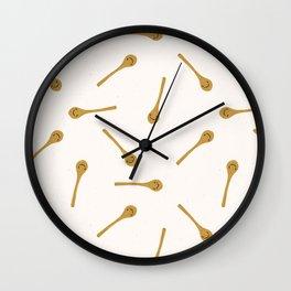 Cute wooden spoon kitchen utensil illustration. Wall Clock