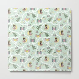 Childish seamless pattern with princess and dragon green background Metal Print