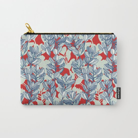Leaf and Berry Sketch Pattern in Red and Blue Carry-All Pouch