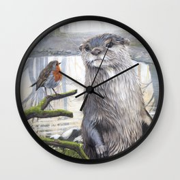 The Otter' Visitor - Acrylic Painting - British Wildlife Wall Clock