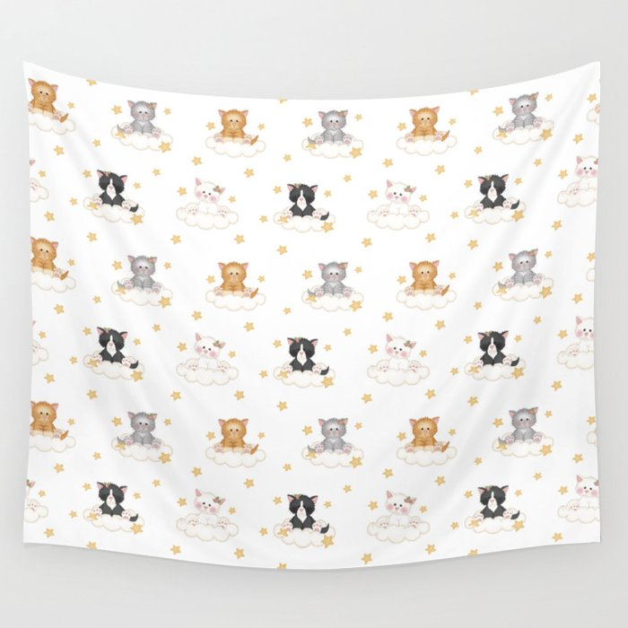 Cat Kitten Baby Girl Nursery Room Decor Wall Tapestry