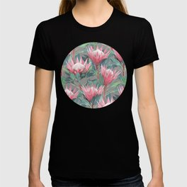 Pink Painted King Proteas on grey T-shirt