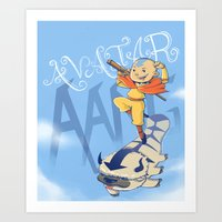 aang Art Prints featuring Avatar Aang by LeticiaFigueroa