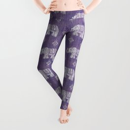 Elephants on Linen - Amethyst Leggings