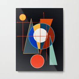 Black Geometric Abstract Composition Suprematist Metal Print