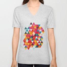 Vintage Summer Color Palette - Hipster Geometric Triangle Pattern Unisex V-Neck