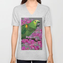 TROPICAL GREEN PARROT & FUCHSIA ORCHIDS  GREY ART Unisex V-Neck