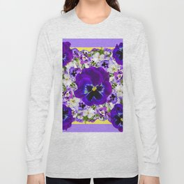 PURPLE PANSIES GARDEN LILAC ART Long Sleeve T-shirt