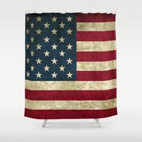 american flag Shower Curtains featuring American Flag by Abbie :)