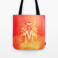 prometheus Tote Bags featuring Prometheus Uprising by chyworks