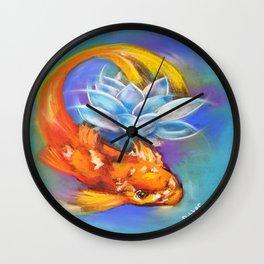 Koi Fish and Lotus Wall Clock
