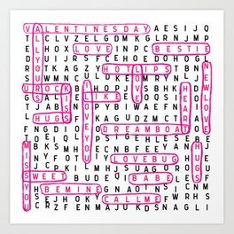 crossword word search valentines day love typography word lover Art Print