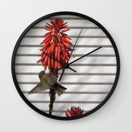 small bird in the country style white wood red flower Wall Clock