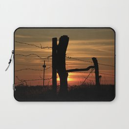 Kansas Colorful Sunset with a Barb wire Fence Silhouette. Laptop Sleeve