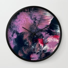 Thunderstorm: a vibrant, abstract acrylic piece in purple, blue, magenta, and white Wall Clock