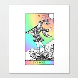 0. The Fool- Pastel Rainbow Tarot Canvas Print