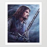 aragorn Art Prints featuring Aragorn by Svenja Gosen