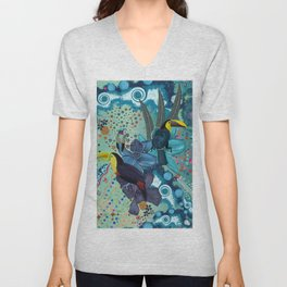 Toucan and hummingbird #artprint Unisex V-Neck