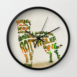 Rottweiler Dog Typography Art / Watercolor Painting Wall Clock