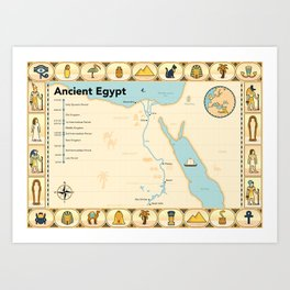 Illustrated map of Ancient Egypt Art Print