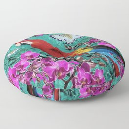 TROPICAL ORCHIDS RED MACAW PARROT JUNGLE ART Floor Pillow