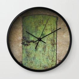 Rusty Green Door Wall Clock