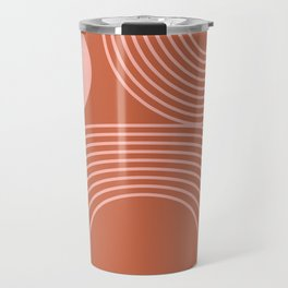 Lines in Terracotta and Blush Travel Mug
