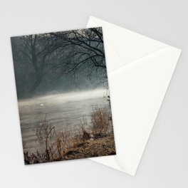 Morning fog, river and sunrise Stationery Cards