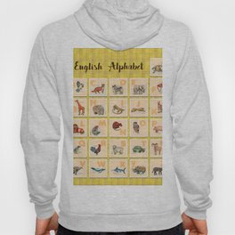 hand drawn animals poster for all English letters Hoody