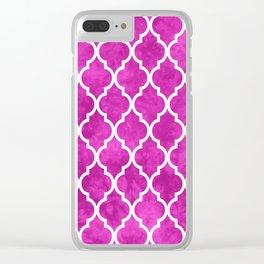 Classic Quatrefoil Lattice Pattern 901 Magenta Clear iPhone Case